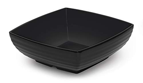 GET Enterprises Black 25 qt Square Bowl Break Resistant Dishwasher Safe Melamine Plastic Milano Collection ML-67-BK Pack of 1