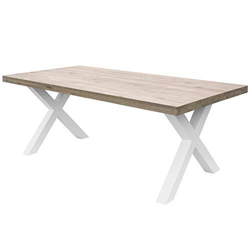 COMIFORT Mesa de Comedor - Mueble para Salon Oficina Despacho Robusto y Moderno de Roble Macizo Blanqueado, Patas de Acero X-Forma Blancas (140x90 cm)