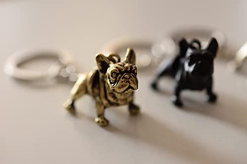 Kytrun Retro 3 Colors 3D French Bulldog Key Chains Cute Metal French Bulldog Dog Keychains Keyrings Pet Jewelry Best Gift Antique Bronze