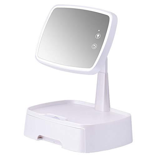 YYF Tragen Led Schminkspiegel Beleuchteter Desktop-Fülle-Licht-Schlafsaal mit Aufbewahrungsbox Schminkspiegel Einfach (Color : White)