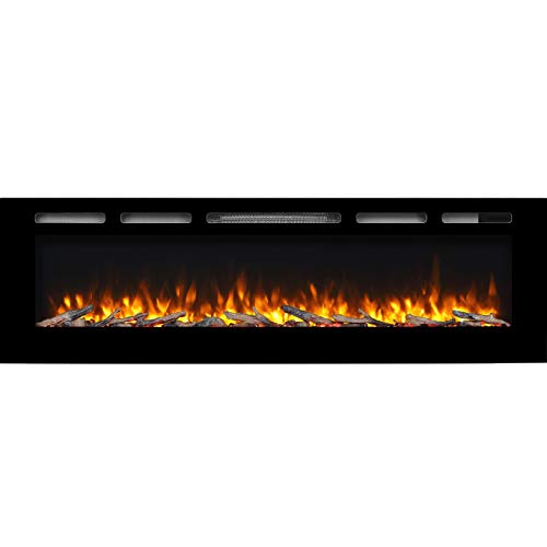 """Hawnby Recessed Electric Fire E143R 220/240Vac, 1&2kW, Log Set & Crystal, 7 Day Programmable Remote Control (68"""")"""