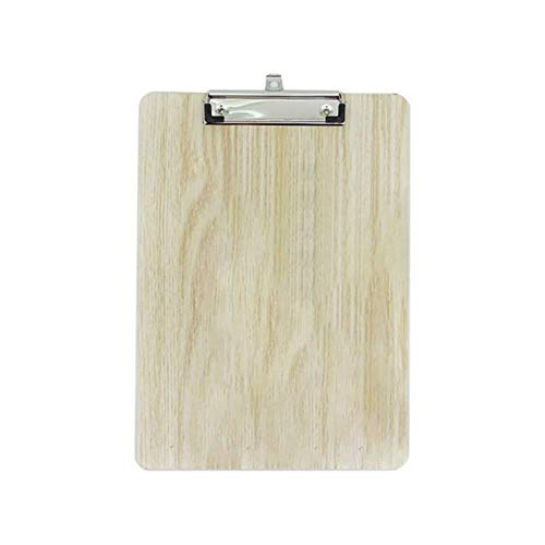 Heng Portable hard Wooden Writing Clipboard File Hardboard Office School Stationery, A4-Wood color