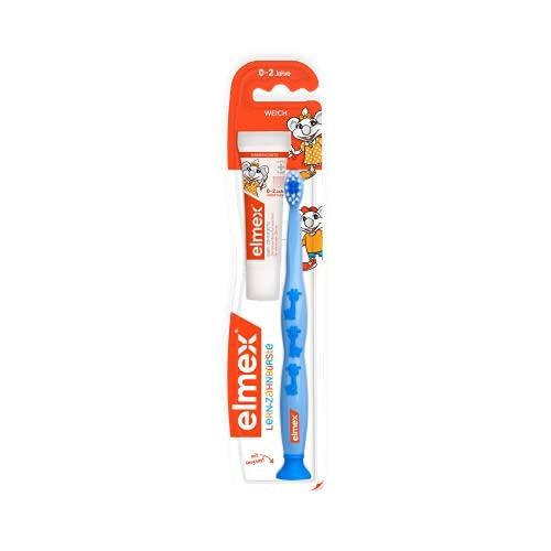 elmex Lern-Zahnbürste, weich, 6 Stück - Zahnbürste für Kinder von 0-2 Jahren mit Baby-Zahnpasta 20 ml, verschiedene Farben (Farben nicht wählbar)
