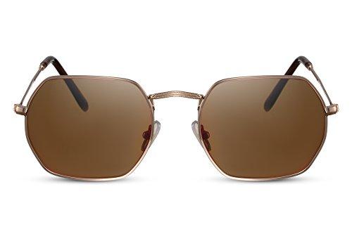 Cheapass Sonnenbrille Rund-e Gläser Gold-en Braun UV-400 Vintage Metall Damen Herren