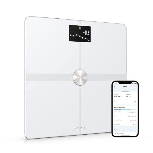 Withings Body+ Báscula inteligente con conexión Wi-Fi, medición de la grasa corporal, IMC, masa muscular y porcentaje de agua corporal, sincronización con la aplicación móvil por Bluetooth o Wi-Fi