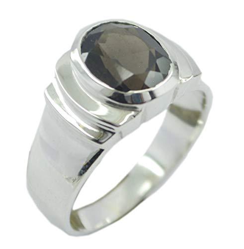 Angebot 925er Sterling Silber ansprechender natürlicher brauner Ring, Rauchquarzbraun-Edelstein-Silberring