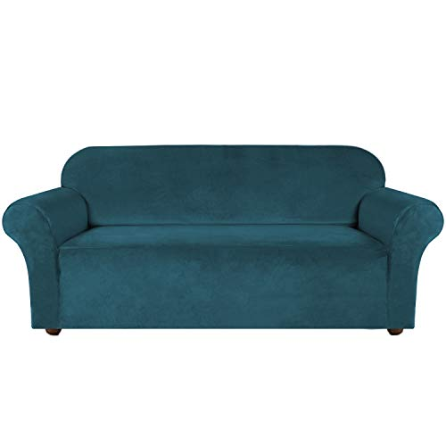 Turquoize Velvet Sofa Slipcover Stretch Couch Covers for 3 Cushion Couch Thick Soft Sofa Cover with Non Slip Straps Furniture Protector,Couch Covers for Dogs,Form Fit Couch Slipcover(Large, Deep Teal)