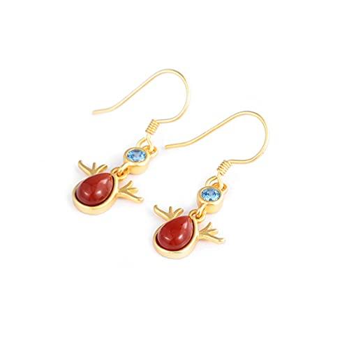Pendientes de plata de ley 925 con diseño de cornalina roja de alce vintage y bonito regalo para mujer