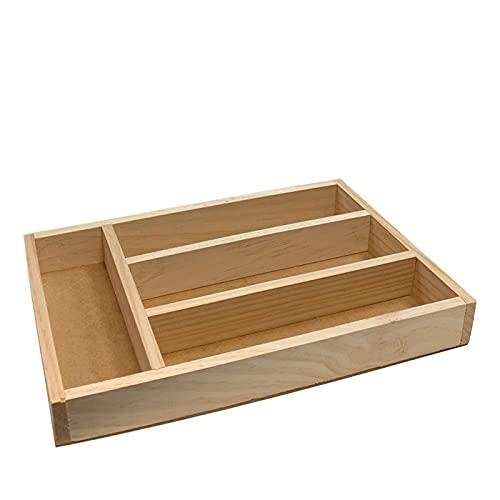 Acan Ruibal - Cubertero, Organizador de Cubiertos de Madera 31,3 x 20,4 x 4.1 cm, 4 Compartimentos. Bandeja, Porta Utensilios de Madera para cajón Cocina