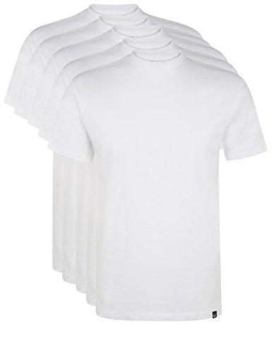 Ultrasport Herren Sport Freizeit T-Shirt mit Rundhalsausschnitt 5er Set, Weiß, M
