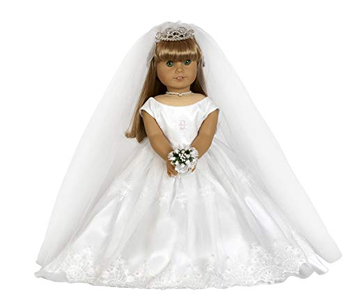 """Bridal Dress. Complete Outfit. Fits 18"""" Dolls Like American Girl"""