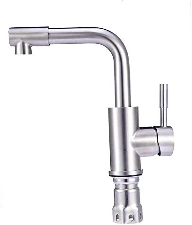 Willsego Wasserhahn 304 Wasserhahn-Waschtisch-Mischbatterie aus Edelstahl, Edelstahl, S65-UE6589321511 (Farbe   -, Gre   -)