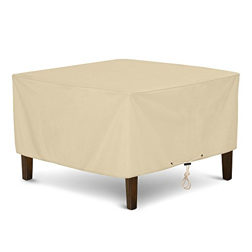 "SunPatio Outdoor Ottoman Cover, Heavy Duty Waterproof Square Coffee Table Cover, Patio Furniture Side Table Cover, All Weather Protection, 32"" L x 32"" W x 18"" H, Beige"