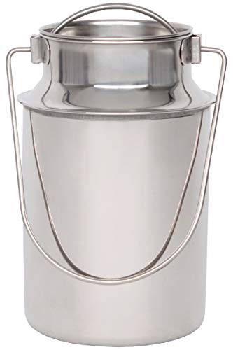 Beeketal \'BMK-4\' Edelstahl Milchkanne Transportkanne mit 2,3 Liter Volumen, Milchkanister mit Deckel, Drahtbügel Transportgriff und Schütthilfe Rand, Abmessung (Ø/H): ca. 125 x 230 mm