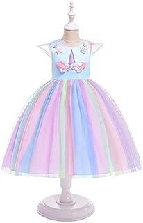 فستان الأميرة الأزرق الفاتح من Flower Girl Mesh Unicorn Christmas Dress for 9-10Y