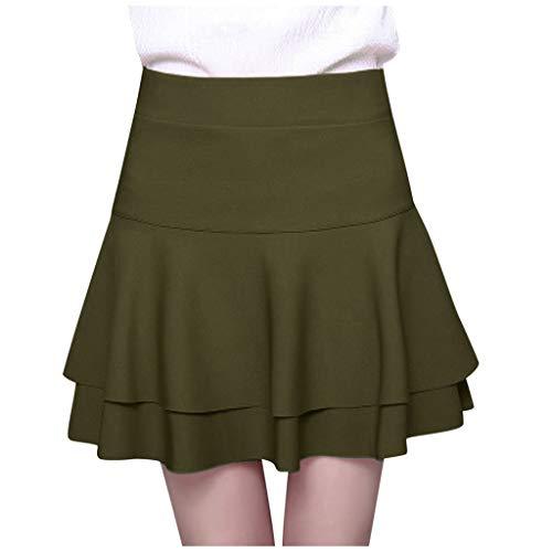 riou Mujeres Falda Tenis Plisada Cintura Elstica Falda de Pantalones de Seguridad de Cintura Alta Ladys Falda de Base de Doble Capa Informal slida