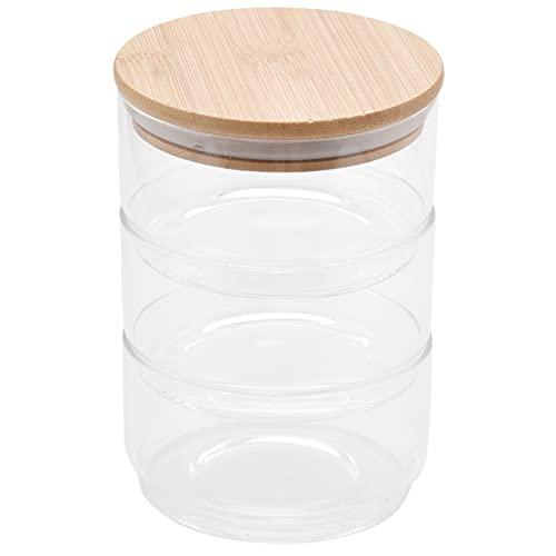 cherrypop Tarro de vidrio de borosilica de 3 capas Mason Borosilica de cocina de alimentos a granel conjunto para especias almacenamiento de frutas secas puede ensalada tazón caja