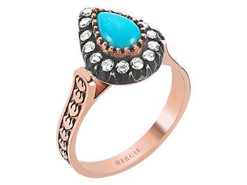 Hürrem - Anillo de piedra de diamante, color turquesa