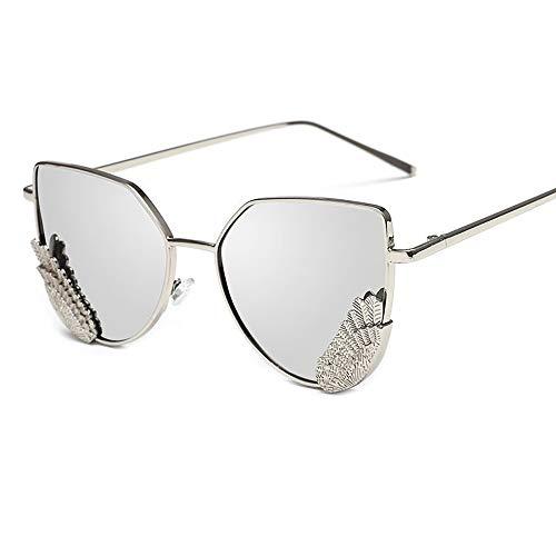 FGKING Gafas de Sol Estilo de Moda para Las Mujeres, Ojo de Gato con Espejos Planos de Metal Marco Gafas de Sol UV400,Gray
