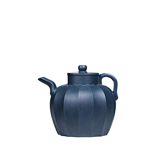 Juan Ni Tetera Llena a Mano Azul Barro Costilla patrón Palacio lámpara mugu Tetera Olla Azul Kungfu Juego de té (Color : Azure mud)