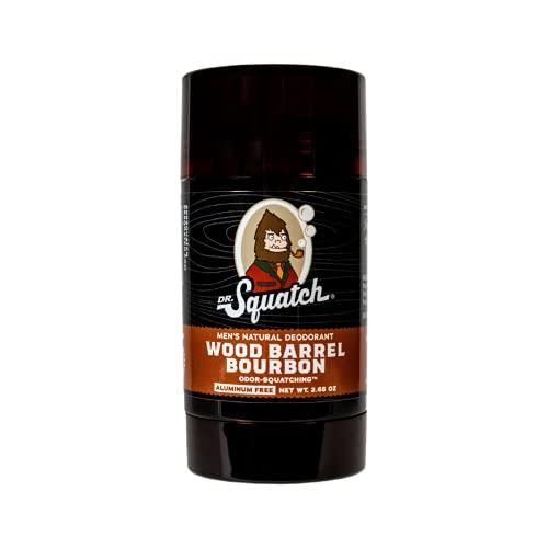 Dr. Squatch Natural Deodorant for Men – Odor-Squatching Men's Deodorant Aluminum Free - Wood Barrel Bourbon 2.65 oz (1 Pack)