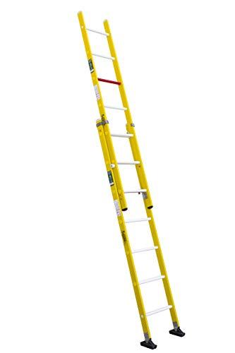 Escalera aislante de dos tramos extensible manual, fabricada en fibra de vidrio (2 tramos x 7 peldaños)