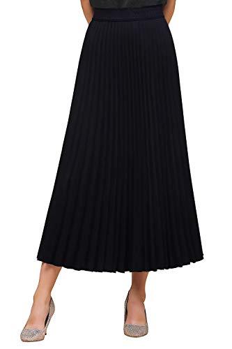 Babyonlinedress® Damen Elegant Plissee Röcke Elastischer Taillen Faltenrock Maxi-Rock Einfarbig Vintage Swing Rock Dunkel Blau M