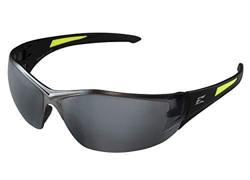 Edge SD117-G2 Delano G2 - Gafas de seguridad envolvente, antiarañazos, antideslizante, UV 400, grado militar, cumple con ANSI/ISEA y MCEPS, 5 pulgadas de ancho, marco negro/lente de espejo plateado