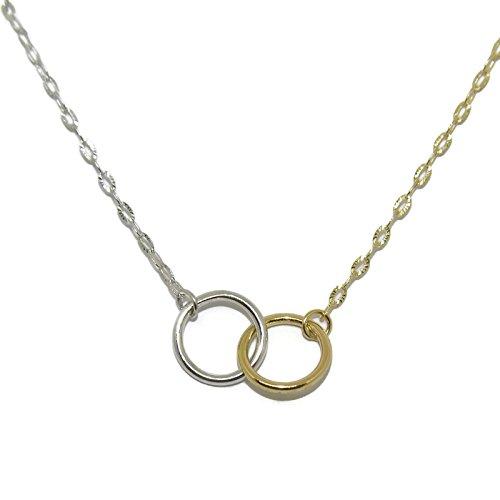 Never Say Never Collar de Oro Amarillo y Blanco de 18ktes de 40cm de Largo con alianzas entrelazadas de 1mm de Ancho por 0.9cm de diametro Exterior en Oro Blanco y Amarillo de 18ktes.
