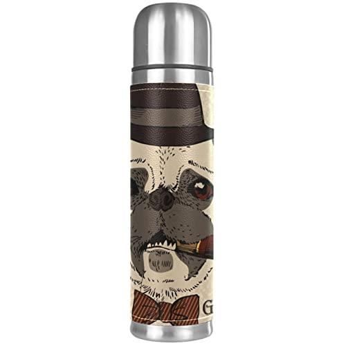 Ritratto di cane carlino con termosifone termoisolato sottovuoto, in acciaio inox, compatto, da viaggio, 18 oz