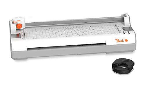Peach Plastificadora PB350 4 en 1, A3, incluye redondeador de esquinas, cúter, láminas laminadas, ABS, listo para usar en 3-5 minutos, 2 x 125 micras, 250 mm/min, laminadora en caliente y en frío