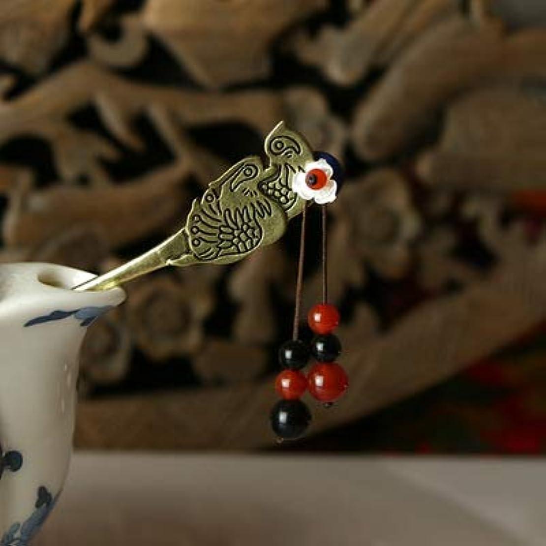 専ら感謝幹HuaQingPiJu-JP 古典的なヘアピン中国式マンダリンダックビンテージヘアクリップ(シルバー)