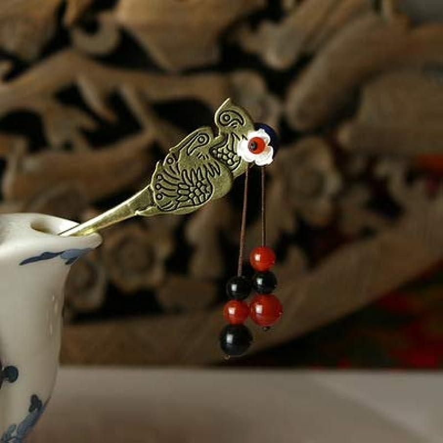 ペインギリック社会ひいきにするHuaQingPiJu-JP 古典的なヘアピン中国式マンダリンダックビンテージヘアクリップ(シルバー)