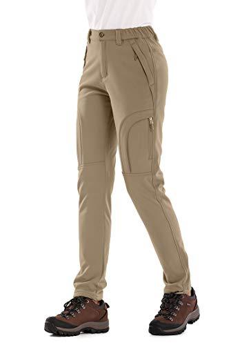 Womens Snow Pants Winter Waterproof Pants Outdoor Soft Shell Fleece Linded Cargo Ski Hiking Pants, Khaki XXXL 40
