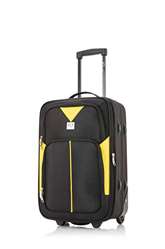 ATX Luggage Ryanair, EasyJet, BA, Jet 2, Super Lightweight Expandable Cabin Approved Trolley 2 Wheeled Bag, FITS Within 55x40x20 and 56x45x25cm Built-in Lock (21' Carry-on, Black/Yellow)