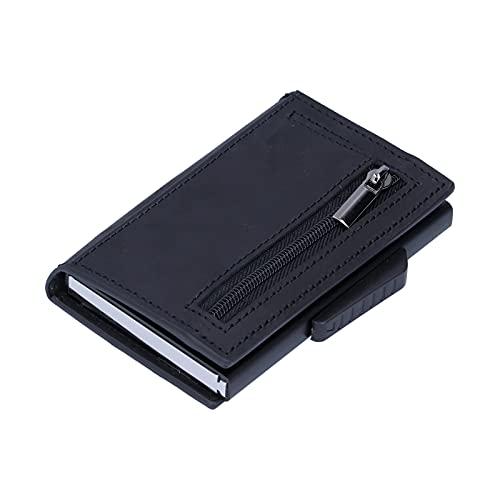 Voluxe Monedero para Tarjetas de crédito, Bolso para Tarjetas de aleación de Aluminio para Uso prolongado para Viajes al Aire Libre(Black, x-72#Leather)