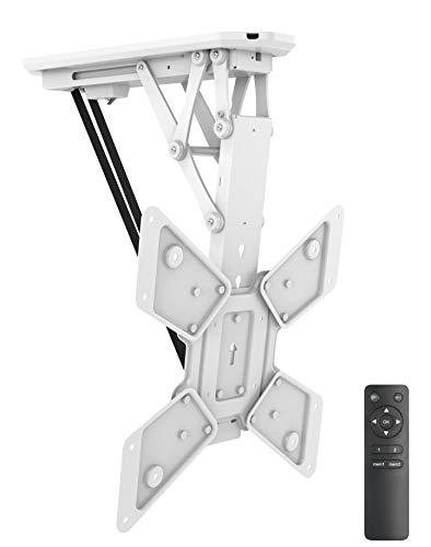 Soporte de techo plegable motorizado con mando a distancia para televisores y pantallas planas de 23 a 55 pulgadas, VESA, color blanco