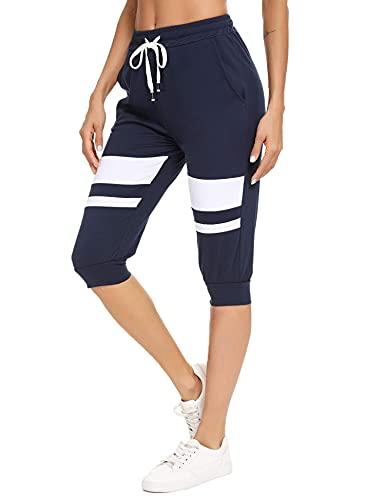 Akalnny Damen 3/4 Jogginghose Trainingshose High Waist Sporthose Jogginghose Elastischen Kordelzug mit Taschen Bündchen Freizeithosen Navy Blau XL