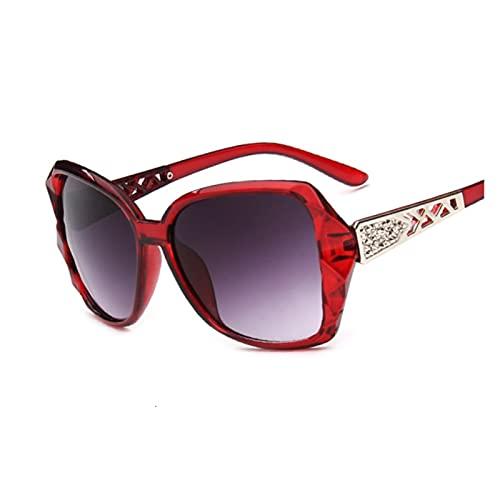 Moda Cuadrada Gafas de Sol Mujer de Lujo Marca Grande Púrpura Púrpura Gafas de Sol Femeninas Mirror Sombras Damas Oculos De Sol Feminino (Lenses Color : Wine Red)