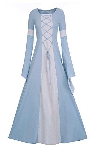 Meilidress Women Medieval Dress Lace Up Vintage Floor Length Cosplay Retro Long Dress Sky Blue