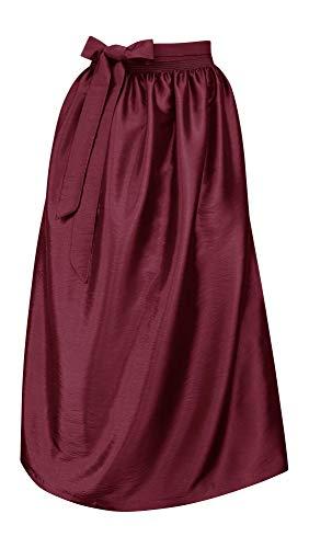 Schürze für Dirndl Trachtenschürze Trachtenkleid Dirndlkleid Dirndlschürze Taftschürze Trachtenmode einfärbig uni Taft grün pink rot rosa blau schwarz Glanz apron, Größe:L = 40 42 44, Farbe:rouge