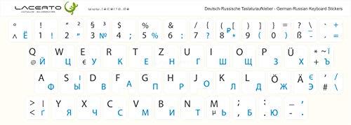 Lacerto® | 14x14mm Russisch-Deutsche Aufkleber für PC/Laptop & Notebook Tastaturen mit mattem kratzfestem Laminat | Farbe: Hellblau-Weiß (Nicht transparent)