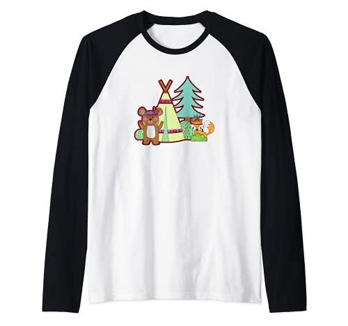 Lindo oso y zorro Camping en un Tipi Camiseta Manga Raglan
