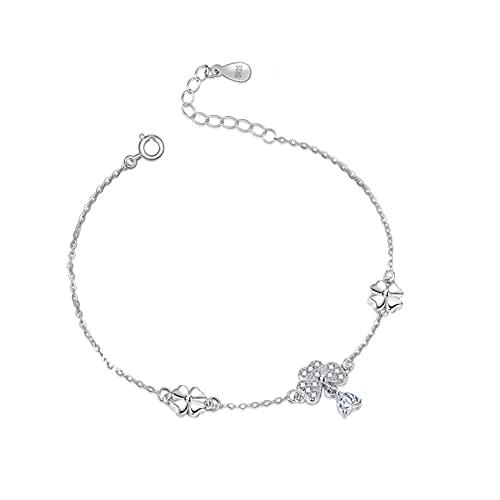 WLLLTY Ladies Bracelet Fashion 925 Sterling Silver Clover Link Bracelet Feminine Charm Sterling Silver Jewelry Gifts For Girls