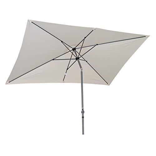 Angel Living 300x200cm Sonnenschirm aus Aluminium mit Kurbel und Neigung für Gartenterrasse,mit UV-Schutz 40+ Creme