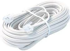 15' Feet Telephone Extension Cord Cable Line Wire, Premium Retail Blister Pack White RJ-11