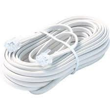 Bistras 25 Ft 4C Telephone Extension Cord Cable Line Wire for Any Phone Modem Fax Machine Answering Machine Caller ID White