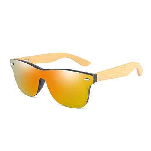Long Keeper Occhiali Da Sole da Uomo e Donna Occhiali Vintage Senza Montatura In Legno e Lente a specchio Protezione UV400 (Arancione)