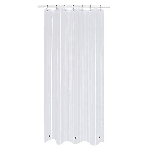 Mrs Awesome 70x70 Shower Curtain Liner with 6 Magnets PEVA 8G Thick & Heavy Duty, Waterproof, Non Toxic and Odorless, 70 x 70 inches, Clear