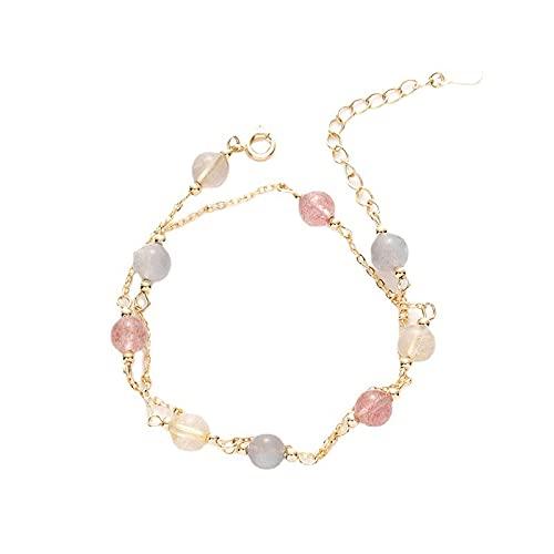 Pulsera de cristal doble fresa cristal piedra lunar Zhao flor de melocotón pulsera joyería arcoíris pulsera de cristal en la muñeca